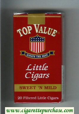 Top Value Little Cigars Sweet'n Mild 100s cigarettes soft box