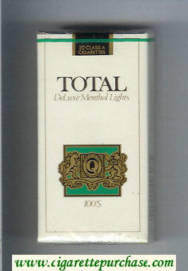 Total DeLuxe Menthol Lights 100s cigarettes soft box