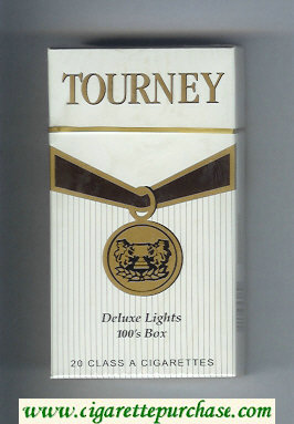 Tourney Deluxe Lights 100s Box Cigarettes hard box