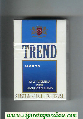 Trend Lights New Formula Rich American Blend cigarettes hard box