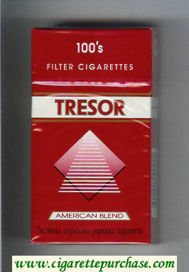 Tresor American Blend 100s Filter cigarettes red and white hard box