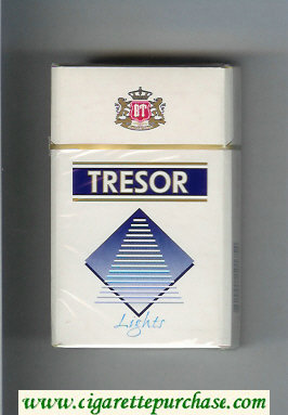 Tresor Lights cigarettes white and blue hard box
