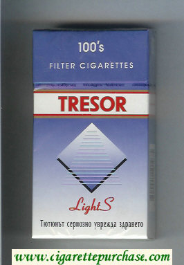 Tresor Lights 100s Filter cigarettes blue and white hard box