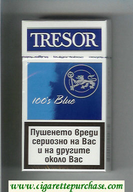 Tresor 100s Blue cigarettes hard box