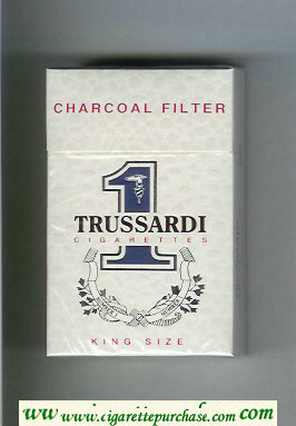 Trussardi 1 Charcoal Filter King Size cigarettes white hard box