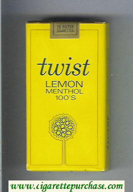 Twist Lemon Menthol 100s cigarettes soft box