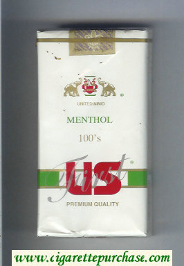 US First Menthol 100s Premium Quality cigarettes soft box