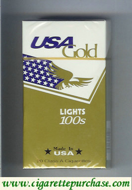 Discount USA Gold Lights 100s cigarettes hard box
