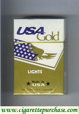Discount USA Gold Lights cigarettes hard box
