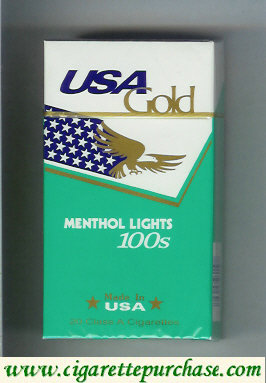 Discount USA Gold Menthol Lights 100s cigarettes hard box