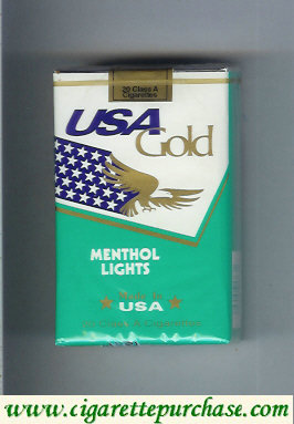 Discount USA Gold Menthol Lights cigarettes soft box