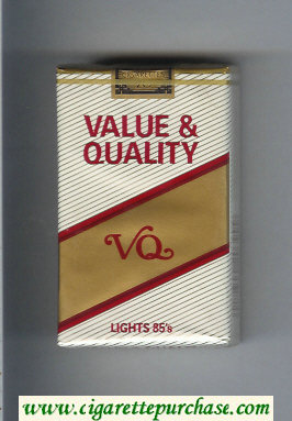 Value and Quality Lights 85s cigarettes soft box
