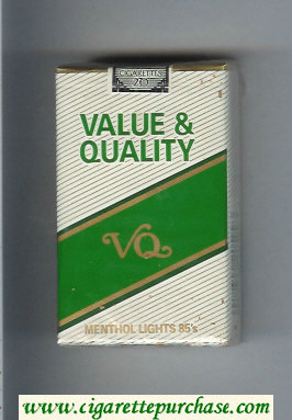 Value and Quality Menthol Lights 85s cigarettes soft box