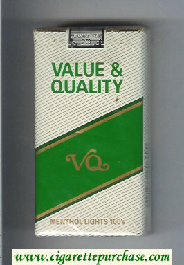 Value and Quality Menthol Lights 100s cigarettes soft box