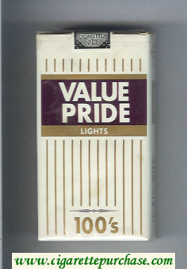 Value Pride Lights 100s cigarettes soft box