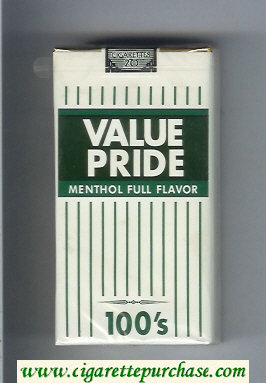 Value Pride Menthol Full Flavor 100s cigarettes soft box