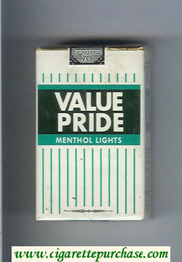 Value Pride Menthol Lights cigarettes soft box