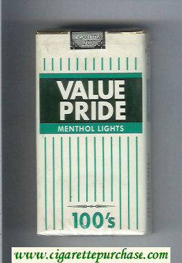Value Pride Menthol Lights 100s cigarettes soft box