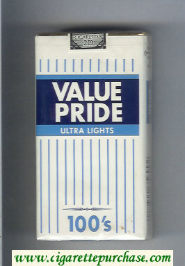 Value Pride Ultra Lights 100s cigarettes soft box