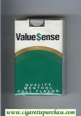 Value Sense Quality Menthol Full Flavor cigarettes soft box
