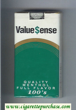 Value Sense Quality Menthol Full Flavor 100s cigarettes soft box
