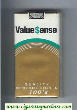Value Sense Quality Menthol Lights 100s cigarettes soft box