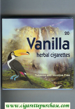 Vanilla Herbal Cigarettes wide flat hard box