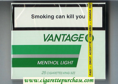 Discount Vantage Menthol Light 25 Cigarettes wide flat hard box