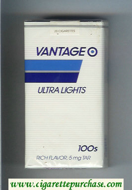 Discount Vantage Ultra Lights 100s Cigarettes soft box