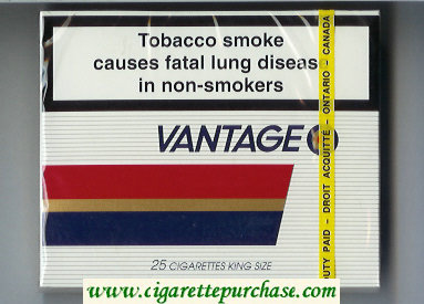 Discount Vantage 25 Cigarettes wide flat hard box
