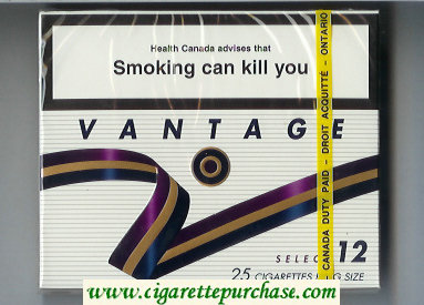 Discount Vantage 12 Select 25 Cigarettes wide flat hard box