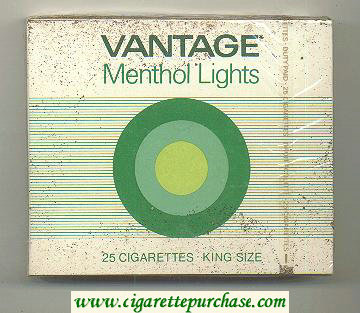Discount Vantage Menthol Lights 25 Cigarettes wide flat hard box
