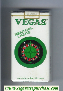 Vegas Menthol Lights 100s Cigarettes soft box