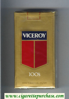 Viceroy 100s Rich Tobaccos - Filter gold Cigarettes soft box