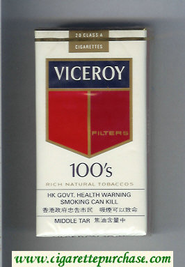Discount Viceroy Filters 100s Cigarettes Rich Natural Tobaccos soft box