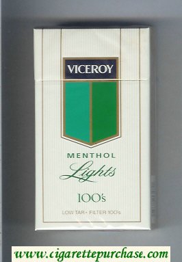 Viceroy Menthol Lights 100s Cigarettes hard box