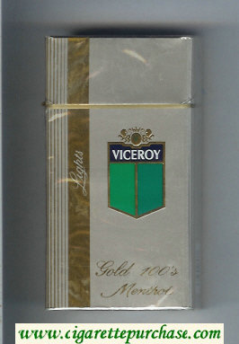 Discount Viceroy Lights Gold 100s Menthol Cigarettes silver hard box