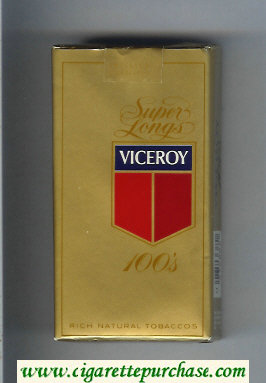 Discount Viceroy Super Longs 100s Cigarettes Rich Natural Tobaccos gold soft box