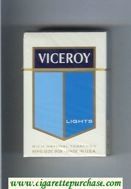 Viceroy Lights Cigarettes Rich Natural Tobaccos hard box