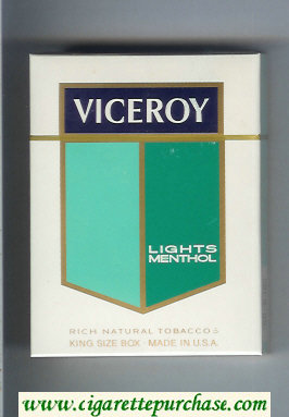 Viceroy Lights Menthol 100s 25 Cigarettes Rich Natural Tobaccos hard box