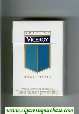 Discount Viceroy Special Dual Filter Cigarettes white and blue hard box