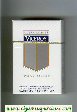 Viceroy Ultra Lights Dual Filter Cigarettes hard box