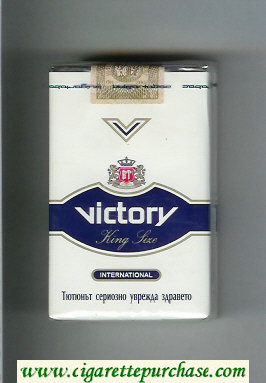 Victory International cigarettes white and blue soft box