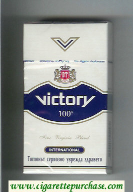 Victory 100s International cigarettes white and blue hard box