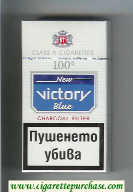 Victory 100s New Blue Charcoal Filter cigarettes hard box