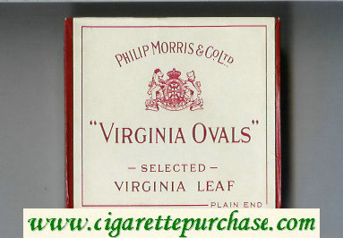 Virginia Ovals Selected Virginia Leaf cigarettes wide flat hard box