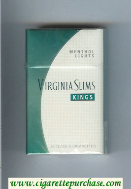 Discount Virginia Slims Kings Menthol Lights cigarettes hard box