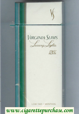Virginia Slims Luxury Lights Menthol 120s cigarettes hard box
