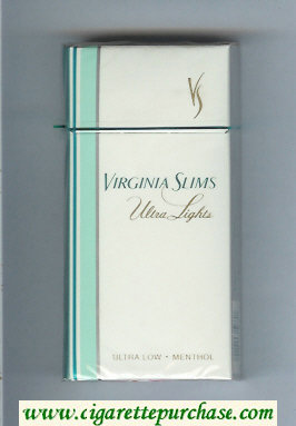 Virginia Slims Ultra Lights 100s Menthol cigarettes hard box