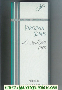 Discount Virginia Slims Luxury Lights 120s Menthol cigarettes hard box